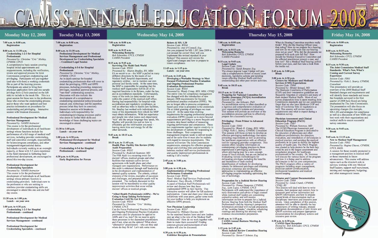 CAMSS Brochure schedule